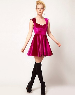 Image 4 ofMinkpink &#39;Stolen Moment&#39; Velvet Skater Dress