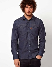 G Star Shirt Arizona Dot Print Indigo