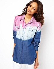 ASOS Denim Shirt in Coloured Dip Dye
