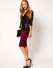 ASOS Pencil Skirt with Leather Look Trim