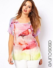 ASOS CURVE Exclusive Top With Woven Front In Flamingo Print