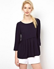 BA&SH Button Back Peplum Top in Crepe