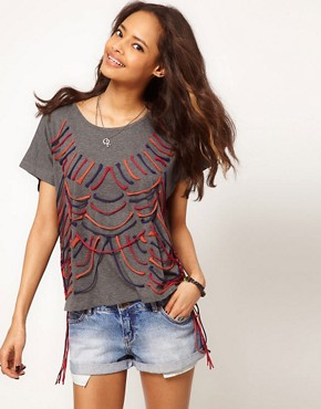 Image 1 ofASOS T-Shirt with Lace Up Detail