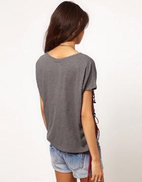 Image 2 ofASOS T-Shirt with Lace Up Detail