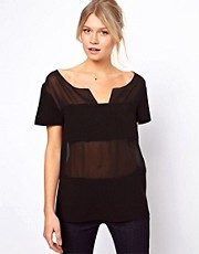 ASOS Top with Deep V-Neck and Sheer and Solid Stripes