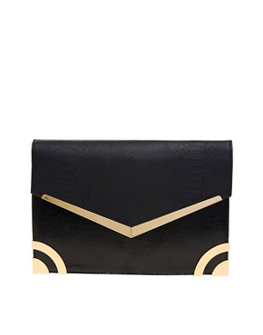 Image 1 ofNew Look Metal Edge Mia Clutch Bag