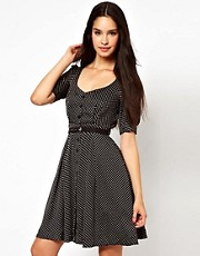 Emily &amp; Fin Belted Polka Print Dress