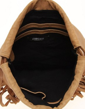 Image 2 of Pieces Eda Leather Fringed Backpack