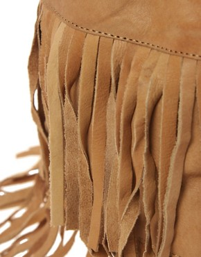 Image 4 of Pieces Eda Leather Fringed Backpack
