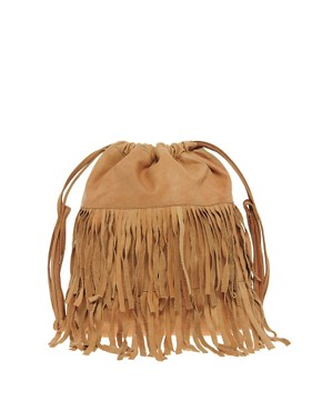 Image 1 of Pieces Eda Leather Fringed Backpack