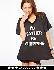 Wildfox I&#39;d Rather Be Shopping T-Shirt Exclusive To Asos