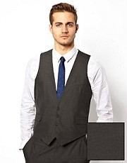 ASOS Slim Fit Vest In Charcoal