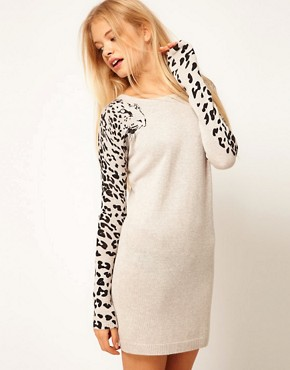Image 1 ofASOS Leopard Sleeve Jumper Dress