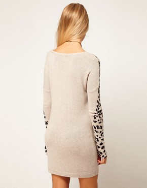 Image 2 ofASOS Leopard Sleeve Jumper Dress
