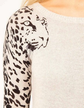 Image 3 ofASOS Leopard Sleeve Jumper Dress