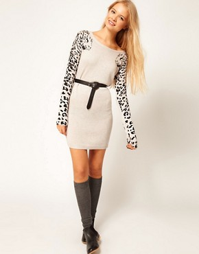Image 4 ofASOS Leopard Sleeve Jumper Dress