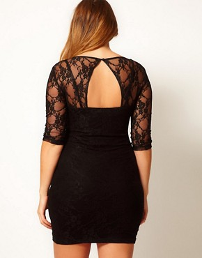 Image 2 ofASOS CURVE Lace Dress With Cut Out Back