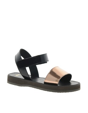 Image 1 ofASOS FIREFLY Leather Flat Sandals