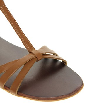 Image 2 ofASOS FLOSSY Leather Sandals with T-Bar