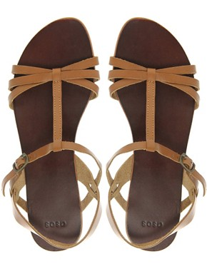 Image 3 ofASOS FLOSSY Leather Sandals with T-Bar