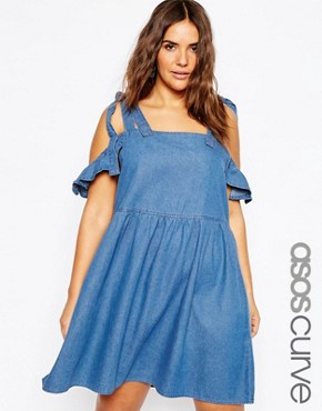 ASOS CURVE Denim Easy Smock Dress with Cold Shoulder