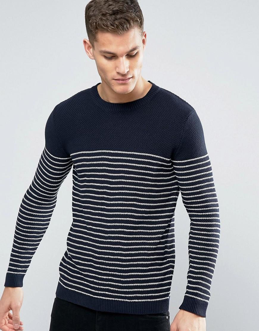 Minimum Koby Stripe Knit Sweater in Navy - Navy