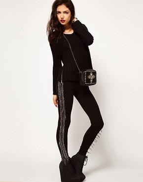 Image 1 ofASOS Premium Leggings with Beaded Tassel Detail