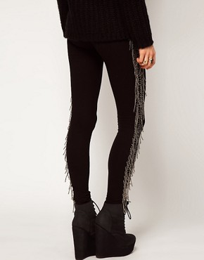 Image 2 ofASOS Premium Leggings with Beaded Tassel Detail