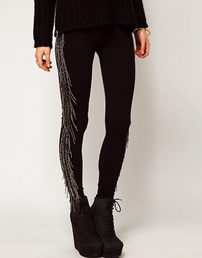 Image 4 ofASOS Premium Leggings with Beaded Tassel Detail