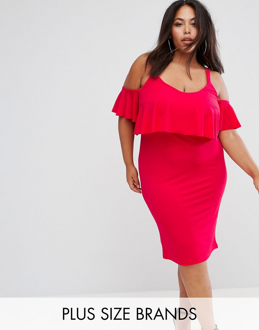 Club L Plus Overlay Midi Dress With Thick Bra Strap - Red rouge
