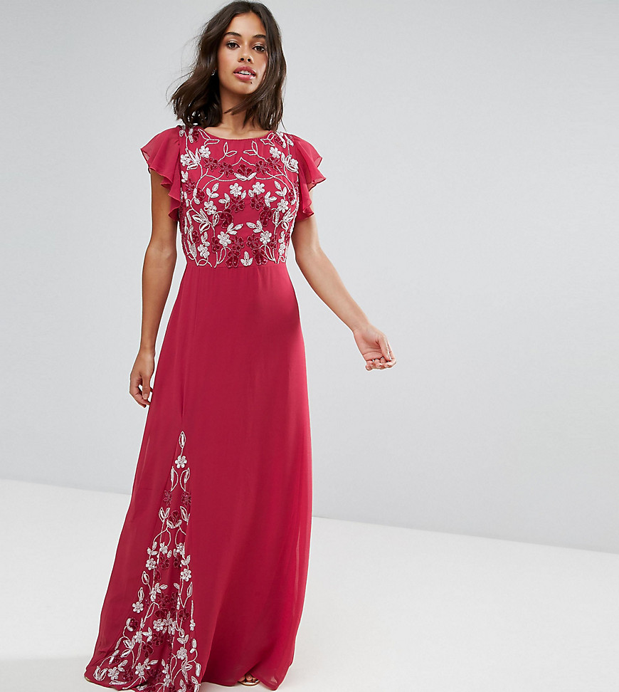Maya Petite Embellished Maxi Dress With Fluted Sleeve