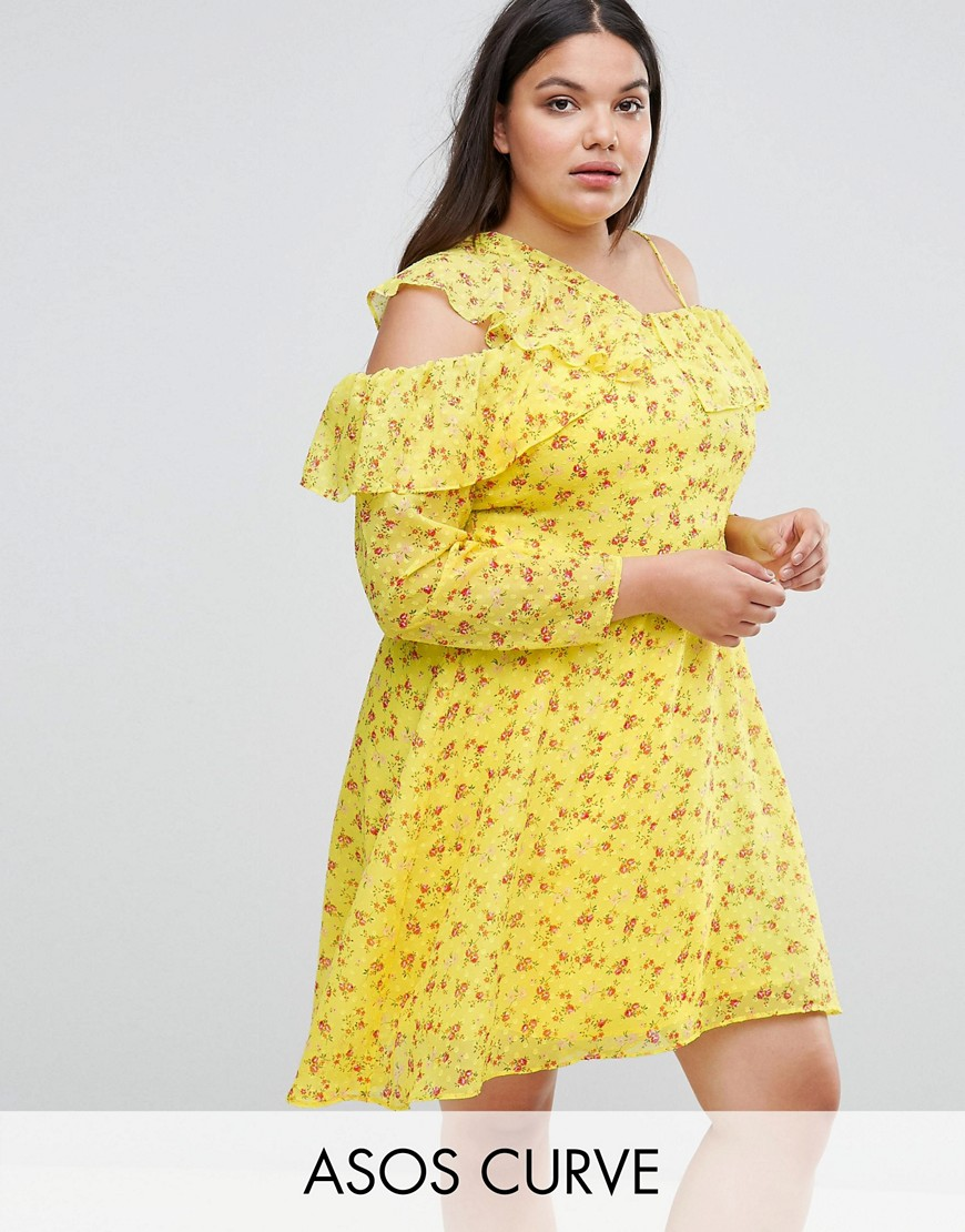 ASOS CURVE Cold Shoulder Ruffle Tea Dress in Dobby Ditsy Print - Multi