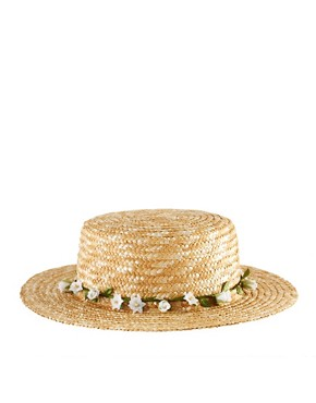 Image 2 ofASOS Straw Boater With Removable Garland Headband