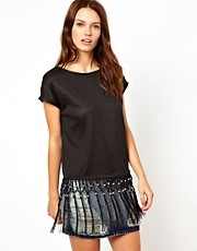 Warehouse Beaded and Fringe Top