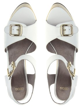 Image 3 ofASOS HOP SCOTCH High Leather Wedges with Buckle Detail