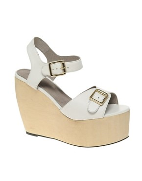 Image 1 ofASOS HOP SCOTCH High Leather Wedges with Buckle Detail