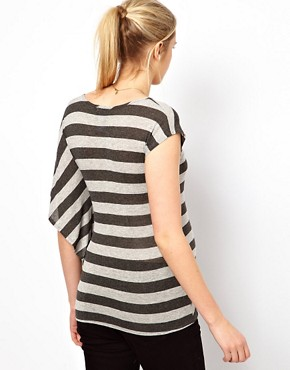 Image 2 ofASOS Maternity Exclusive Stripe T-Shirt With Drape One Sleeve