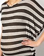Image 3 ofASOS Maternity Exclusive Stripe T-Shirt With Drape One Sleeve