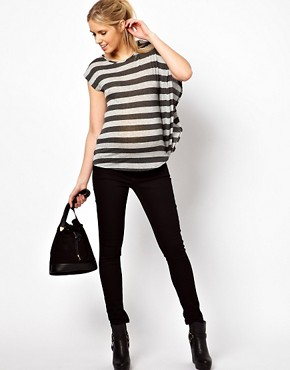 Image 4 ofASOS Maternity Exclusive Stripe T-Shirt With Drape One Sleeve