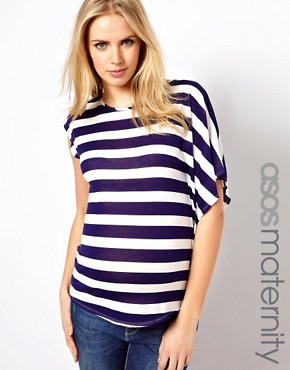 Image 1 ofASOS Maternity Exclusive Stripe T-Shirt With Drape One Sleeve