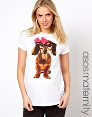 ASOS Maternity Exclusive T-Shirt With Geek Dog With Pink Bow