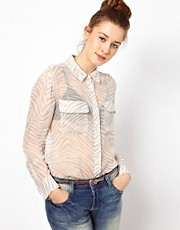 Equipment Silk Chiffon Zebra Shirt