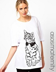 ASOS Maternity - T-shirt con maniche arrotolate e gatto disegnato