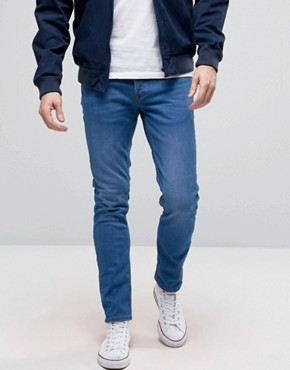River Island Skinny Jeans In Mid Blue