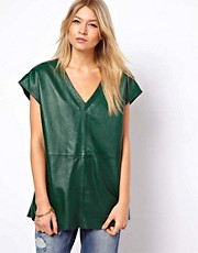 ASOS Leather Tunic With Plunge Neck
