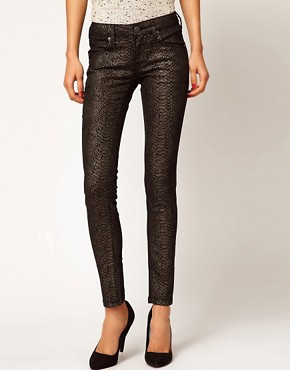 Image 1 ofMango Skinny Jean In Metallic Snake Jean