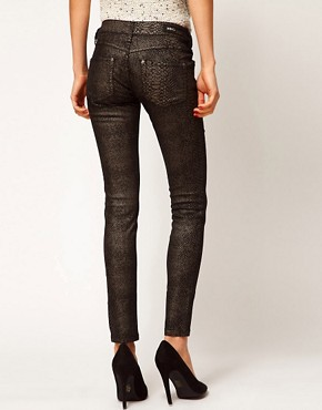 Image 2 ofMango Skinny Jean In Metallic Snake Jean