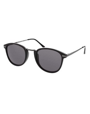 Image 1 ofASOS Metal Bridge Detail Retro Sunglasses