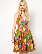 French Connection Halter Dress In Tropical Floral Print