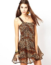 Lucca Couture One Shoulder Leopard Print Dress